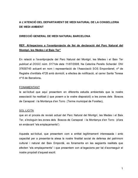"""Plec d'al·legacions a l'avantprojecte de llei de declaració del Parc Natural del Montgrí, les Medes i el Baix Ter"""""""