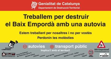 Imatge del cartell que es penjarà a la valla publicitària. Foto: SOS Empordanet.